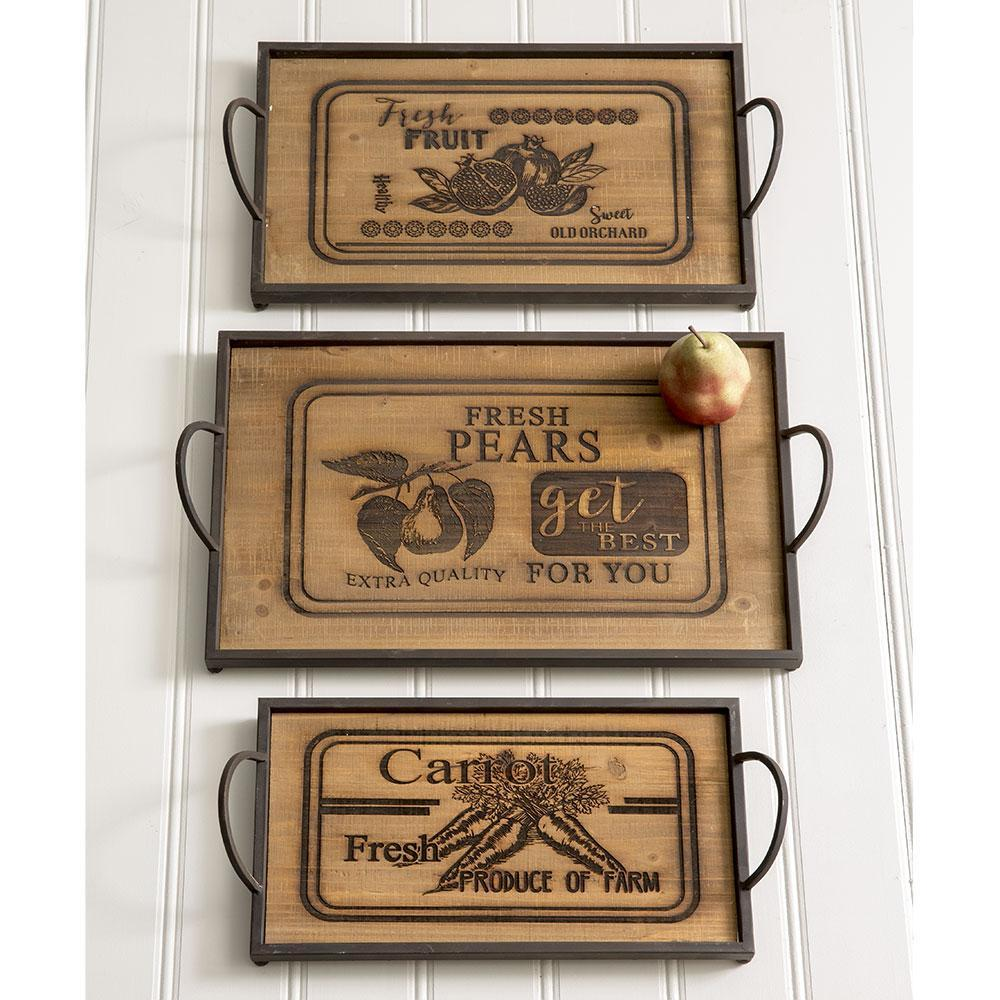 caledonia cute wood and metal serving trays set of