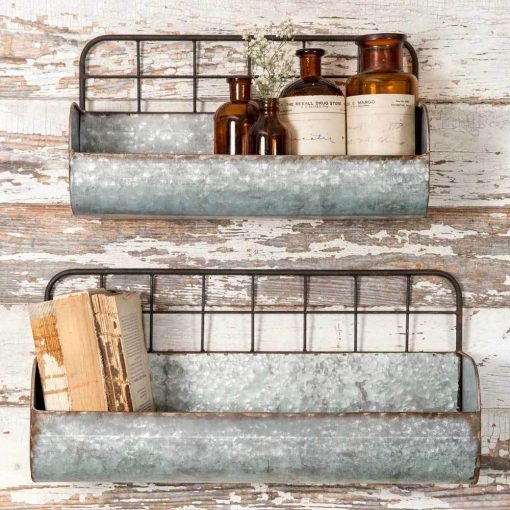 caledonia galvanized wire back wall planters set of
