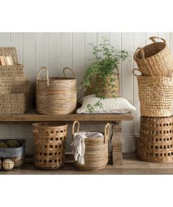 callista 3 piece natural rectangular seagrass basket set
