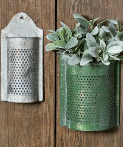 callista galvanized perforated wall containers set of