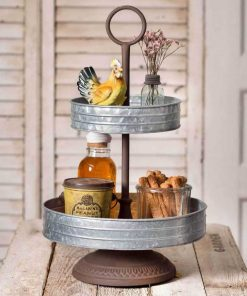 callista galvanized two tier annabeth tray