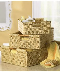 carey brown 3 piece woven basket set