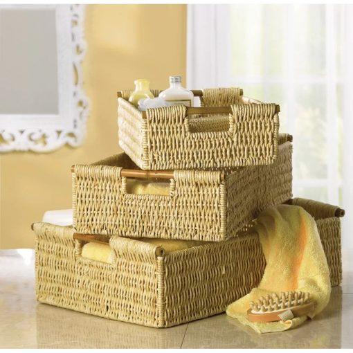 carey brown 3 piece woven basket set