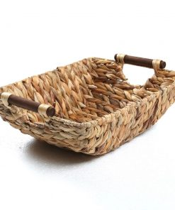 carey natural hyacinth and wood handled wicker basket