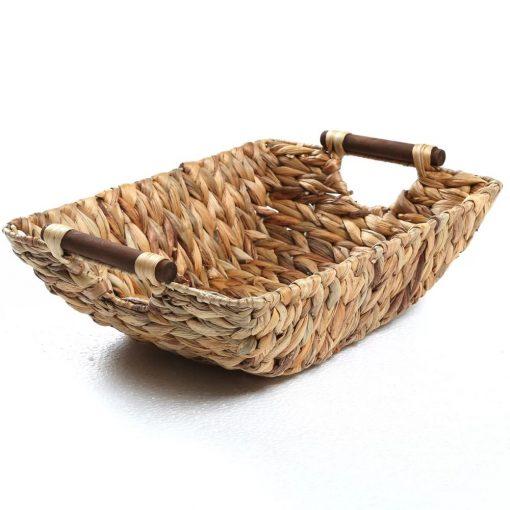 carey natural hyacinth and wood handled wicker basket