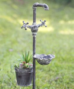 carlotta rustic planter and feeder garden stake