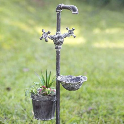 carlotta rustic planter and feeder garden stake