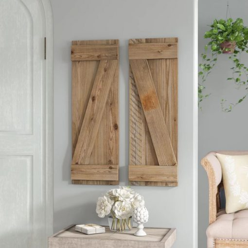 carmina 2 piece distressed barnwood shutters wall décor set