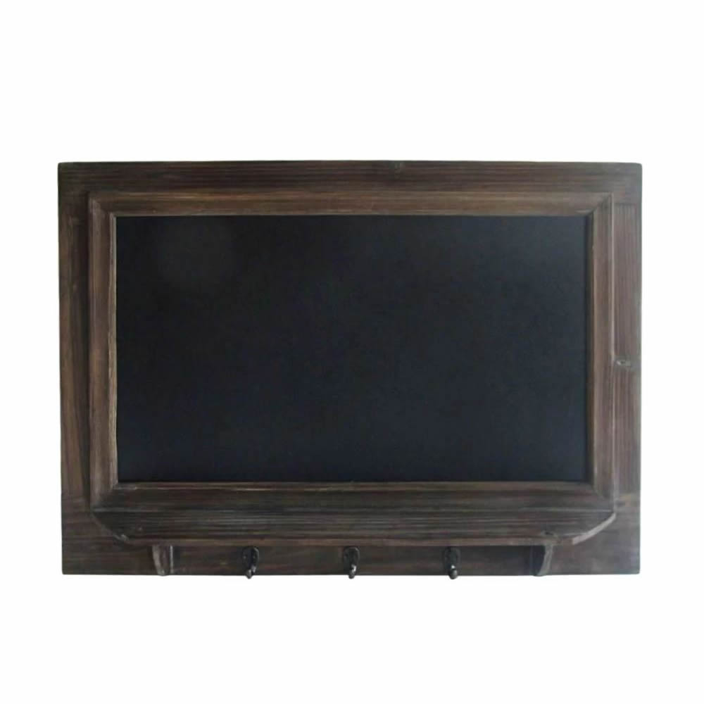 casey wood wall mounted chalkboard with 3 hooks
