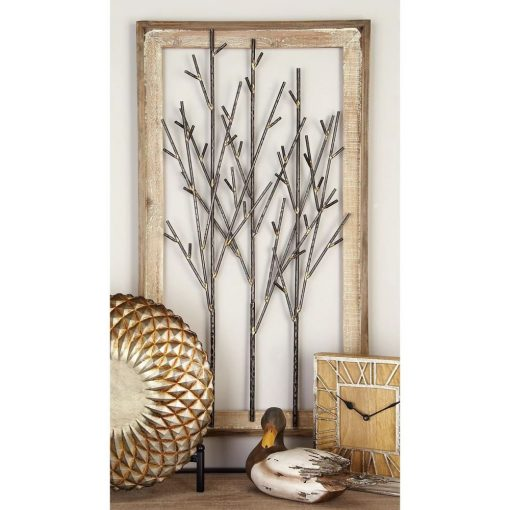 cassia distressed metal trees and wood wall décor