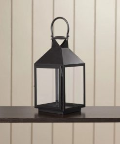cassia glass panels and metal frame lantern