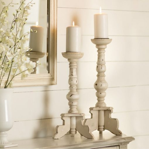 catalonia quaint traditional 2 piece wood candlestick set