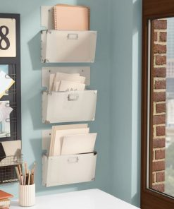 cezanne white plastic wall organizer with mail storage