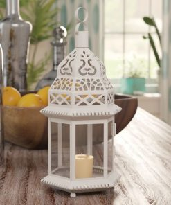 cindy white traditional openwork design and top texture lantern