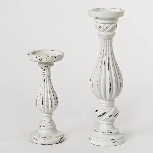 cirque distressed 2 piece wood candlestick set