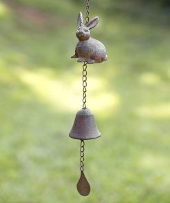 cleobella hanging cast iron bunny wind chime
