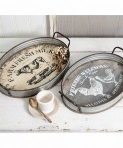 colina galvanized farmhouse oval serving trays set of
