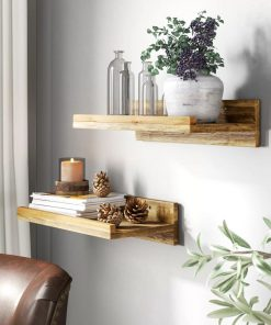 conrad 2 piece solid wood wall shelf set
