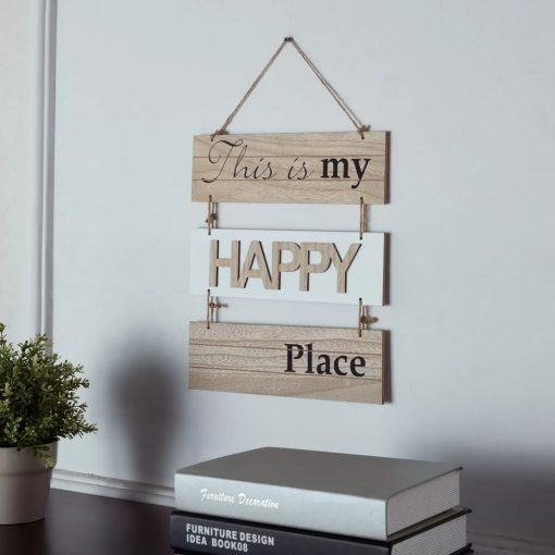 contrast this is my happy place sectioned beige wood wall decor