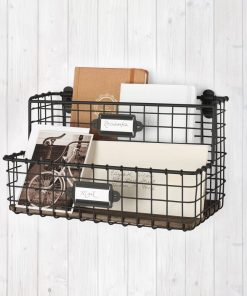 cora vintage metal mount office file and letter holder organizer with wall baskets