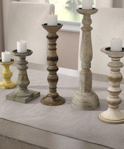 corey distressed 5 piece mango wood candle holder set