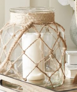 corey jute glass lantern with rope handle