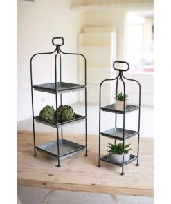 corina tall metal display stands with galvanized trays set of