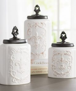 corinna stoneware lid and ceramic kitchen canister set of