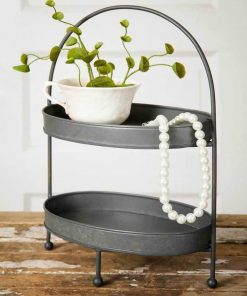 cynthia galvanized two tier metal tray