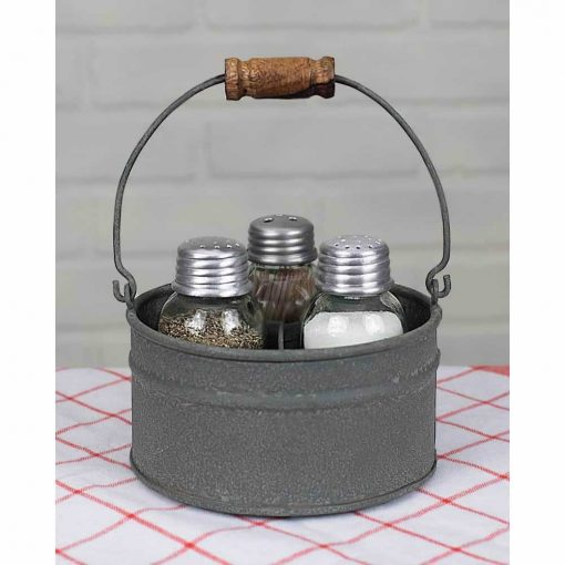 cynthia gray round bucket salt pepper and toothpick caddy