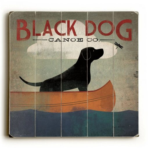 dani distressed black dog canoe co wood wall décor