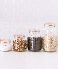 deidra glass with clamp lid kitchen canister set of