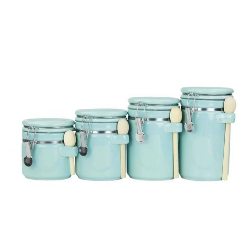 deja light green kitchen canister with a flip top lid set of