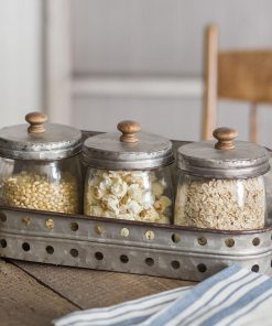 demeter 3 glass canisters with hollow storage bin