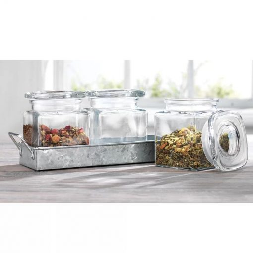 devin 3 glasses canisters on galvanized tray
