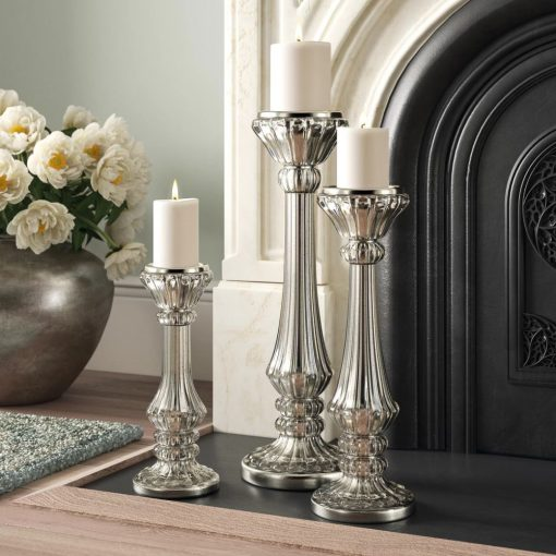 dinah silver 3 piece glass candlestick set
