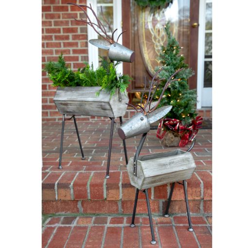 drusilla galvanized standing reindeer containers set of