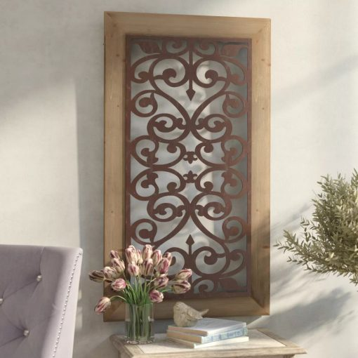 eberjey scrolling ironwork and fleur de lis motif with wood frame wall décor
