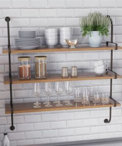 elan brown 3 tired industrial pipe with valley wood wall shelf