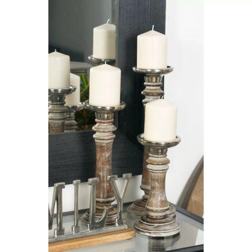 elizabeth rustic 3 piece wood candlestick set