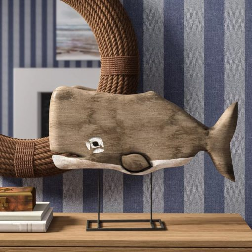 ellie freestanding wood whale decor with pewter metal base