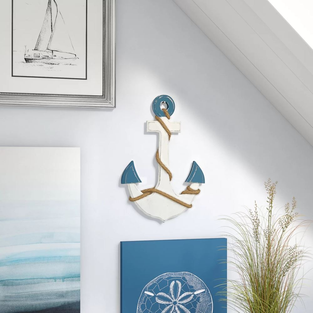 elodie hanging anchor shaped wood wall décor