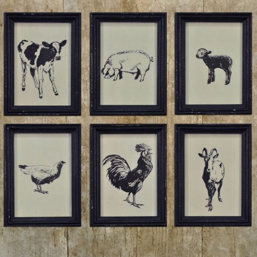 embroidered cute farm animal framed vintage prints set of