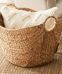 emelia rope styled texture wicker basket with 2 round handles