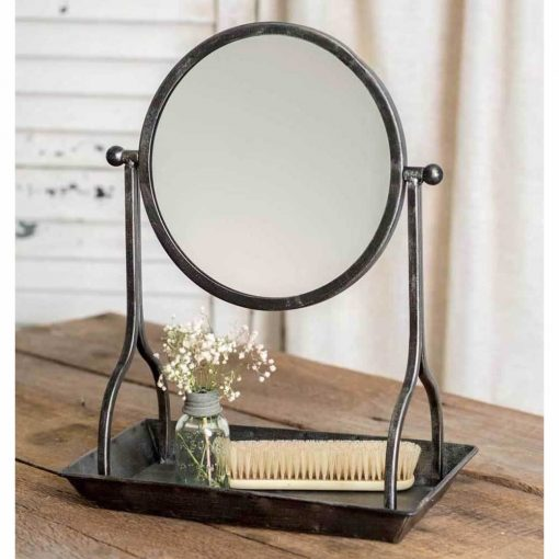 emily metal vanity tray with round mirror