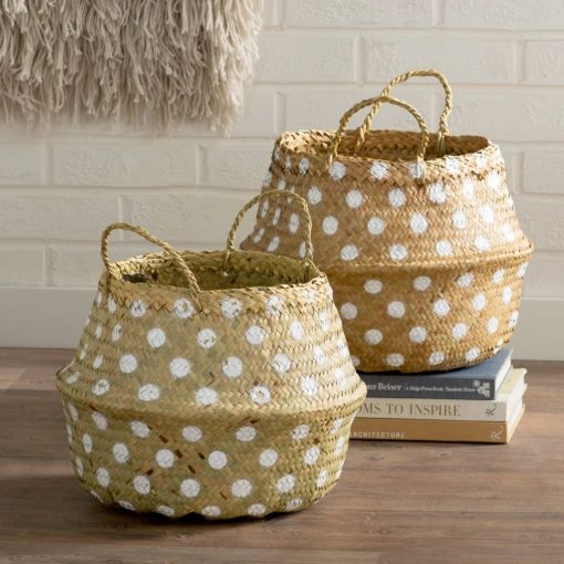erica round seagrass basket with dots