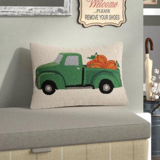 esther charming fall truck with pumpkin wool lumbar pillow