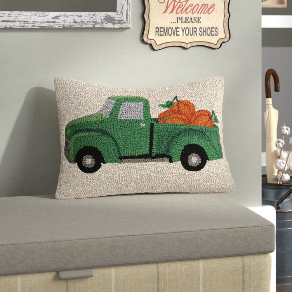 esther charming fall truck with pumpkin wool lumbar pillow