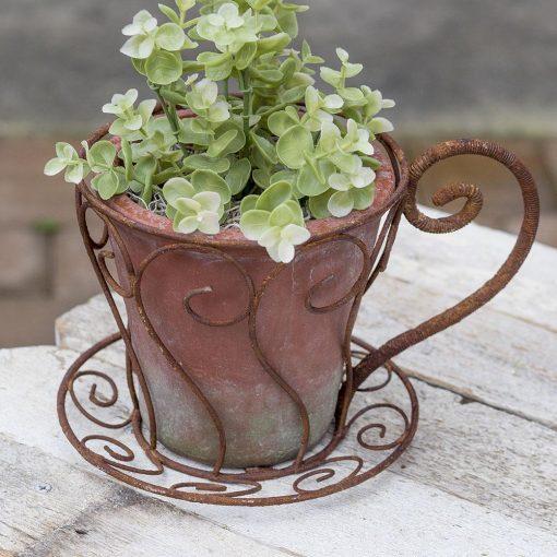 esther rusty latte cup flower pot