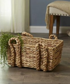 eulalia brown wicker rattan basket with 4 d shaped handles